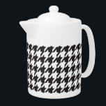 """Black and White Houndstooth Teapot<br><div class=""""desc"""">Black and White Houndstooth</div>"""
