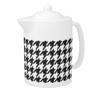 Black and White Houndstooth Teapot