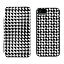 Black and White Houndstooth Wallet Case For iPhone SE/5/5s