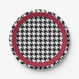 Black and white houndstooth with crimson accent paper plate