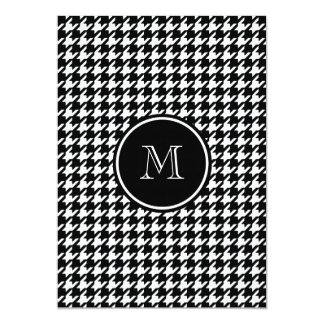 Black and White Houndstooth Your Monogram 5x7 Paper Invitation Card