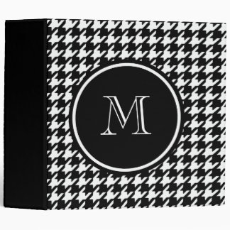Black and White Houndstooth Your Monogram 3 Ring Binder
