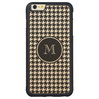 Black and White Houndstooth Your Monogram Carved® Maple iPhone 6 Plus Bumper Case