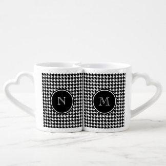 Black and White Houndstooth Your Monogram Coffee Mug Set
