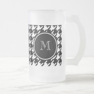 Black and White Houndstooth Your Monogram Frosted Glass Beer Mug
