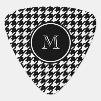 Black and White Houndstooth Your Monogram Guitar Pick