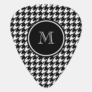 Black And White Houndstooth Your Monogram Guitar Pick by GraphicsByMimi at Zazzle