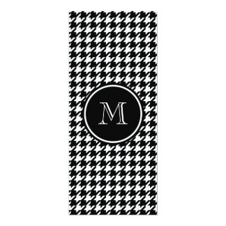 """Black and White Houndstooth Your Monogram 4"""" X 9.25"""" Invitation Card"""
