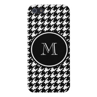 Black and White Houndstooth Your Monogram iPhone SE/5/5s Cover
