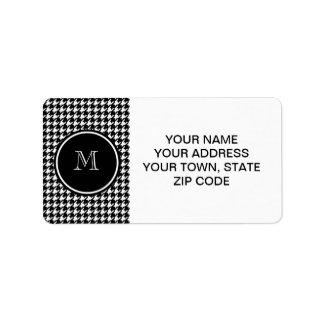 Black and White Houndstooth Your Monogram Label