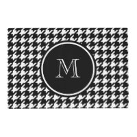 Black and White Houndstooth Your Monogram Placemat