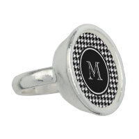 Black and White Houndstooth Your Monogram Rings