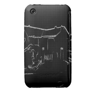 black and white house drawing Case-Mate iPhone 3 case
