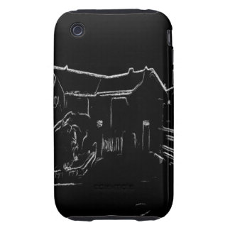 black and white house drawing tough iPhone 3 cover