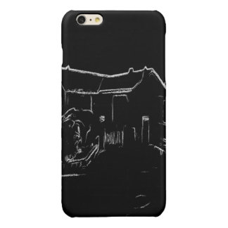 black and white  house drawing glossy iPhone 6 plus case