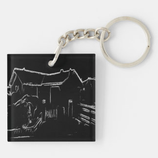 black and white  house drawing Double-Sided square acrylic keychain