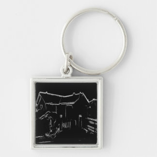 black and white  house drawing keychains