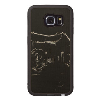 black and white house drawing wood phone case