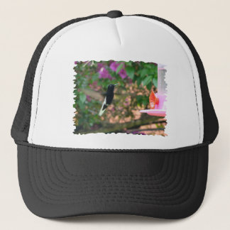 Black and White hummingbird flying at a feeder Trucker Hat
