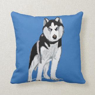 Black and White Husky Dog Throw Pillow