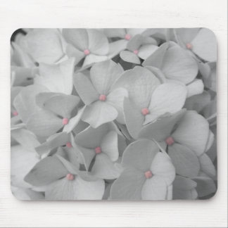 Black and White Hydrangea Blooms Mouse Pad