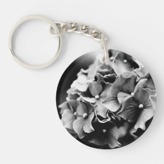Black and White Hydrangea, Hortensia Flower Keychain