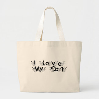 Black and White I Love My Cat Tote Bag