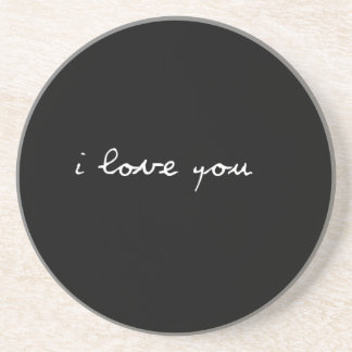 BLACK AND WHITE I LOVE YOU FEELINGS HAPPY RELATION COASTERS