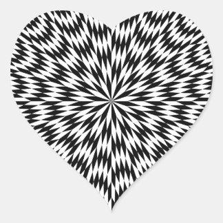 Black and White Icosagon Pattern Heart Sticker
