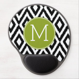 Black and White Ikat Tribal Pattern Green Monogram Gel Mouse Pad