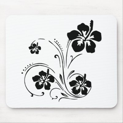 Black and White Illustrated Flower Mousepad by bonfire46