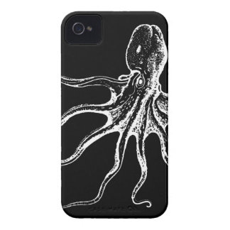 Black and White Illustrated Octopus Sea Creature Case-Mate iPhone 4 Cases