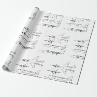 Black and White Illustration Aviation Wrapping Wrapping Paper