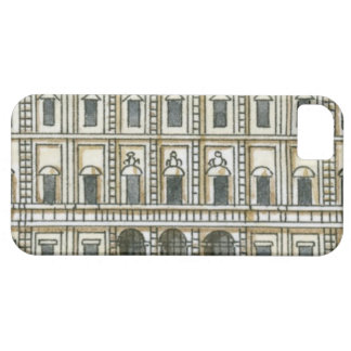 Black and white illustration of facade of 18th iPhone 5 cases