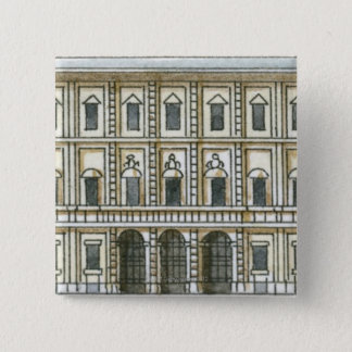 Black and white illustration of facade of 18th pinback button
