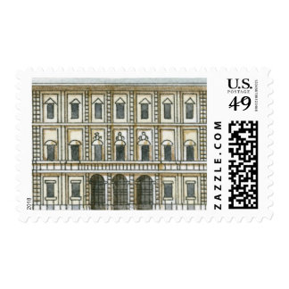 Black and white illustration of facade of 18th postage stamps