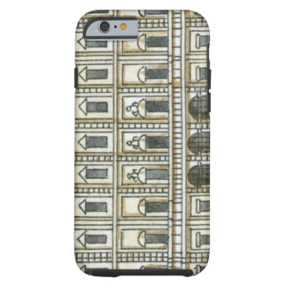 Black and white illustration of facade of 18th tough iPhone 6 case