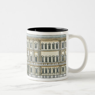 Black and white illustration of facade of 18th Two-Tone coffee mug