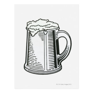 Black and white illustration of Guinness in Postcard