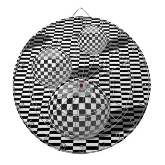 Black and white illustration with balls on a chess dartboard
