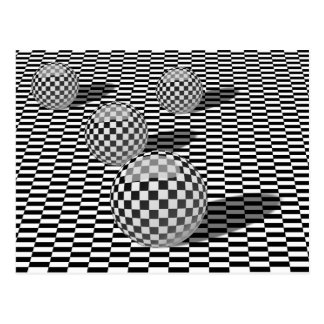 Black and white illustration with balls on a chess postcard
