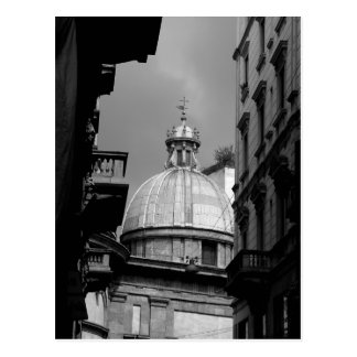 Black and White image Back streets of Milan Italy Postcard