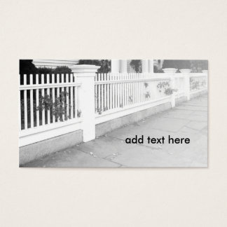 black and white image of a picket fence business card