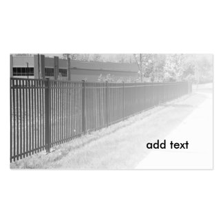black and white image of a wrought iron fence business card