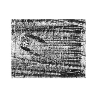 Black and white image of an owl canvas print