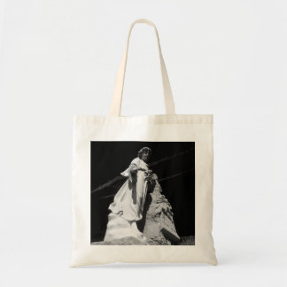 Black and white image of angel canvas bag