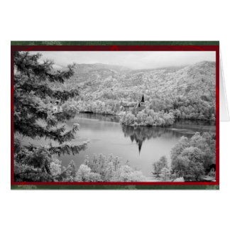 Black and white image of Lake Bled, Slovenia Greeting Card