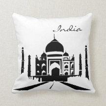 Black and White India Landmark Pillow