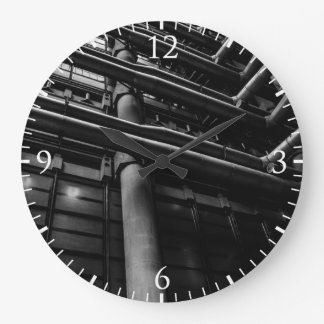 Black and White Industrial Pipes, Architecture Large Clock