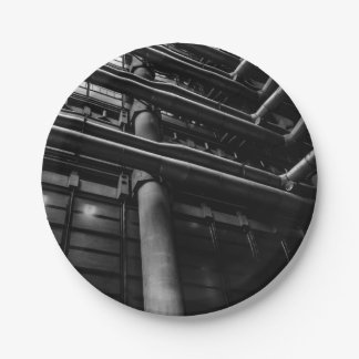 Black and White Industrial Pipes, Architecture Paper Plate